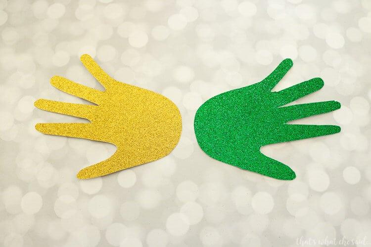 Handprint Mardi Gras Mask - Cut out Handprints from card stock