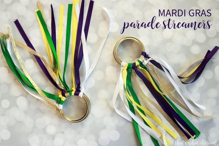 Mardi Gras Mason Jar Parade Streamers