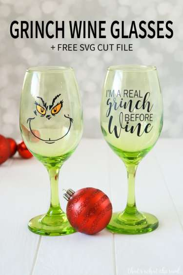 Free SVG + cut files for this awesome Grinch Wine Glass