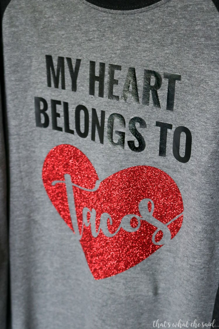 Use your Cricut to create this fun Valentine's Day Shirt with glitter heat transfer vinyl.