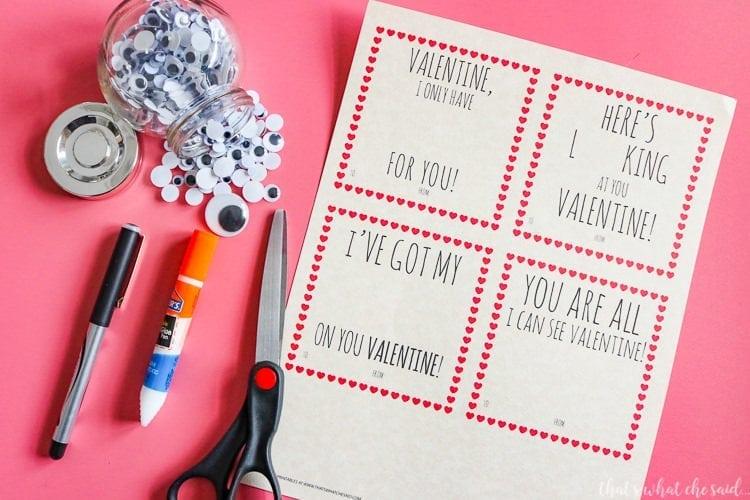 Google Eye Valentine Card Printable Supplies