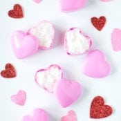 Easy Homemade Sugar Lip Scrub in Heart Containers for Valentine's Day
