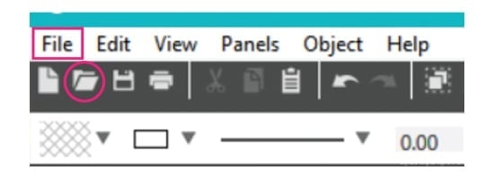 Marking where in Silhouette Studio you click to open a file from your computer