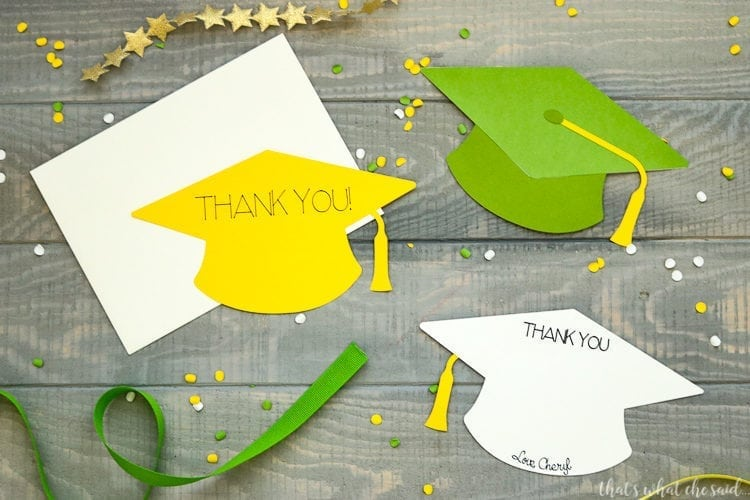 2 styles of graduation cap cards made with your Cricut