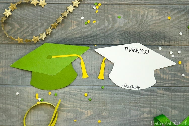 This shows the front of the cap design and the back of the card area to write your thanks.