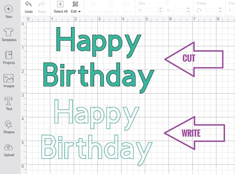 Showing How Design Space will Outline non-writing fonts when using Cricut Pens