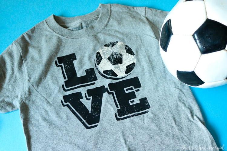 Soccer Love Cricut Iron On Design on Grey T-shirt