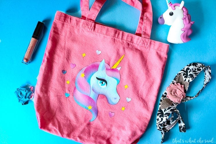 Pink Canvas Tote with Unicorn Iron on Design