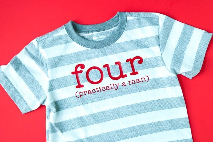 Grey and White striped shirt with Iron on Design for boy's 4th Birthday