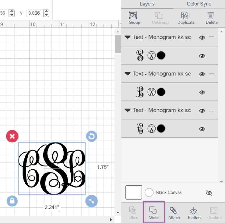 Cricut Design Space screenshot of using the Weld Tool