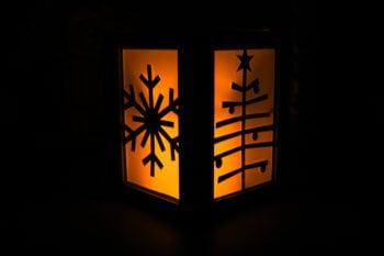 Seasonal Luminary Lit with LED Candle