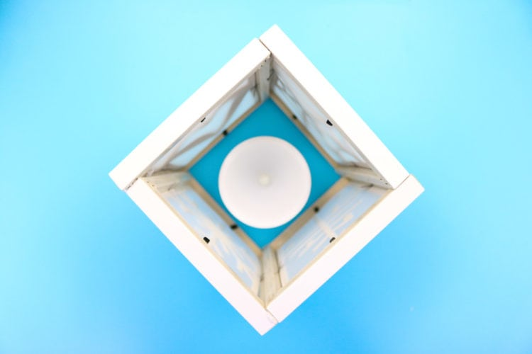 Assembled photo frames in a square top down view