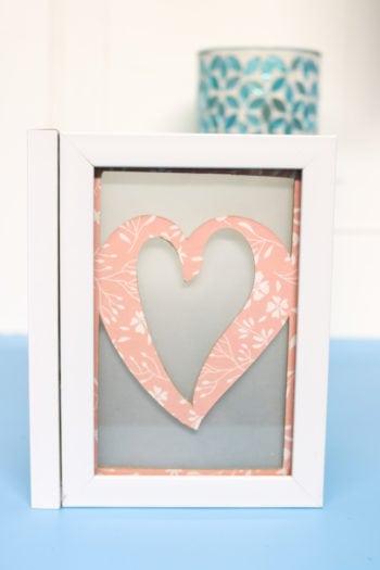 Heart chipboard insert into Photo Luminary