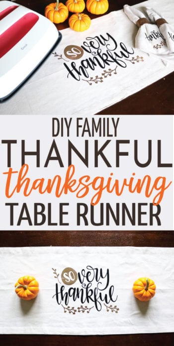 Create a perfect thanksgiving keepsake with this DIY Family Thankful Thanksgiving Table Runner! Add what you are thankful for each year!