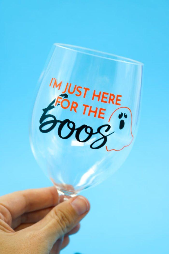 Wine Glass with Halloween Vinyl Decal