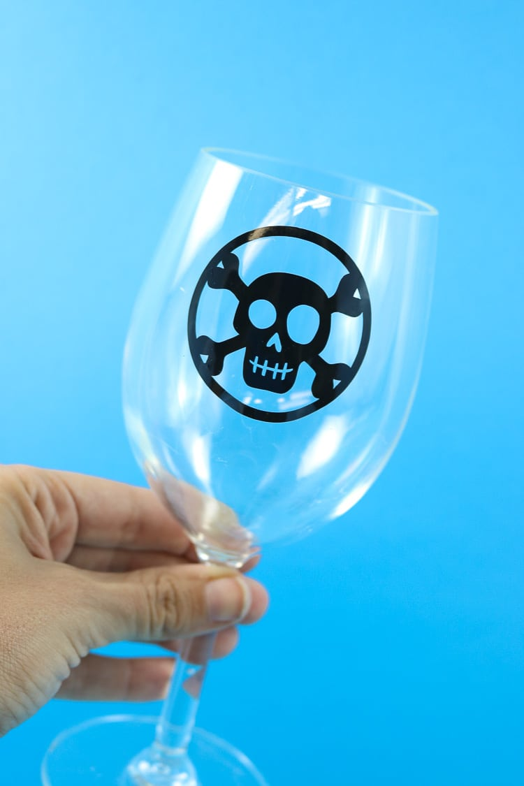 Wine Glass with black window cling wine decal/marker