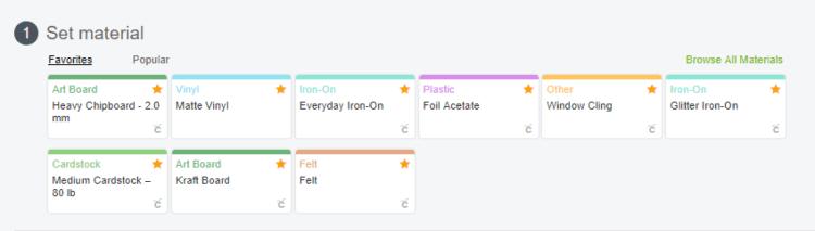 Screenshot of where to set material to cut in Cricut Design Space