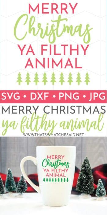 Mug with Merry Christmas Ya Filthy Animal in Vinyl