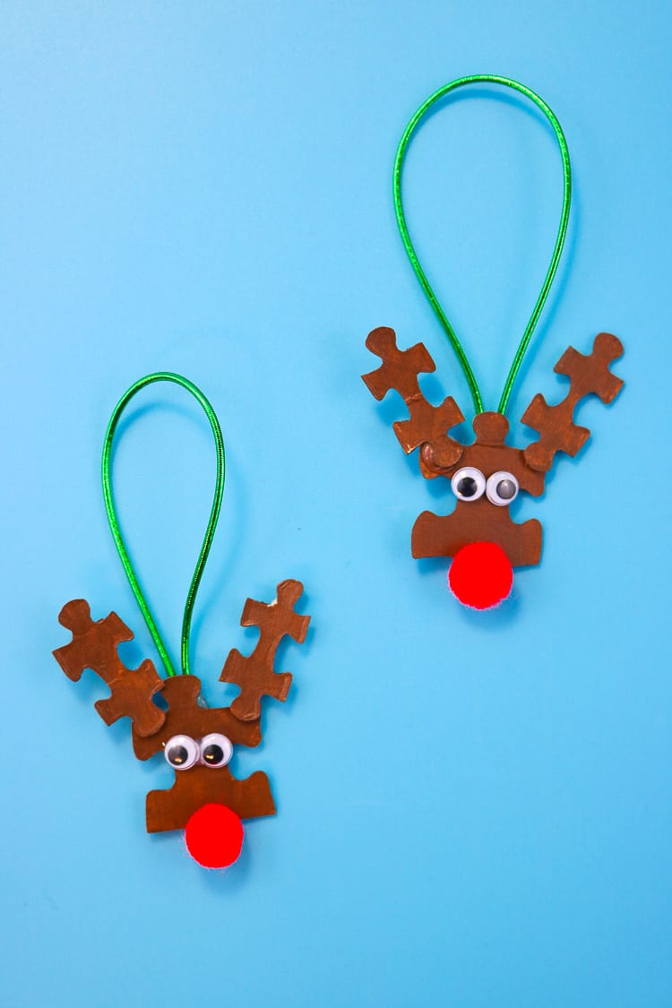 Reindeer Ornaments made from basic craft supplies and puzzle pieces