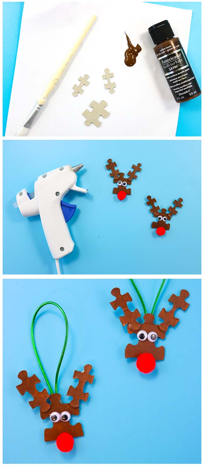 3 photos of step by steps to make reindeer ornaments from puzzle pieces