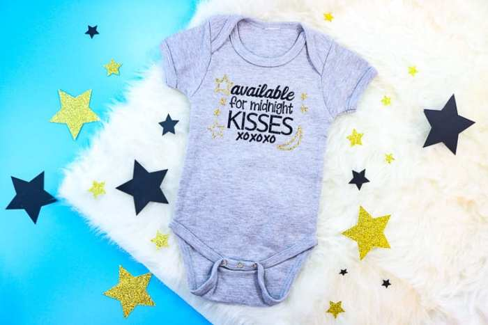Grey Baby bodysuit with Available for Midnight Kisses SVG design in iron on