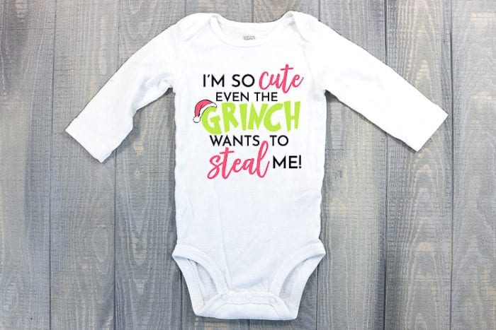 Baby bodysuit made into a Grinch outfit
