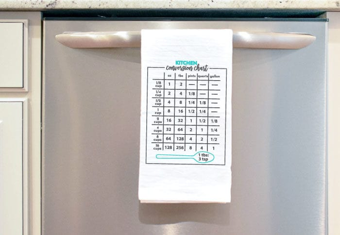 White Tea Towel with Grey and Aqua Kitchen Conversion Chart in iron on