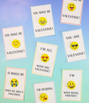 Cardstock Printable Valentines with Emoji Erasers