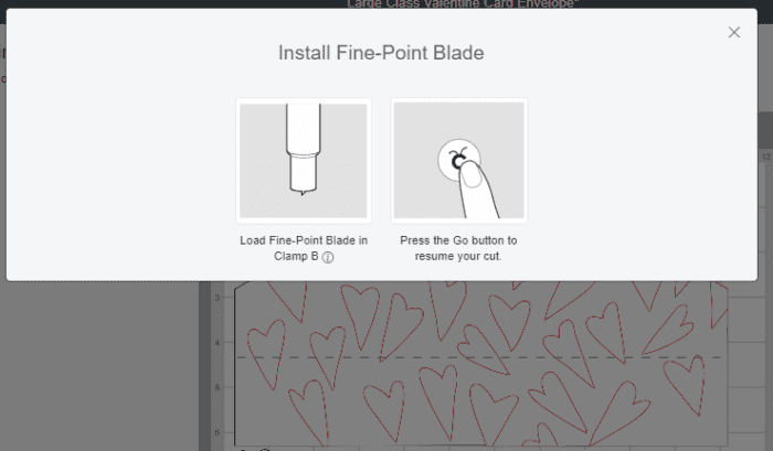 Cricut Design Space Screenshot telling you to replace rotary wheel with fine point blade
