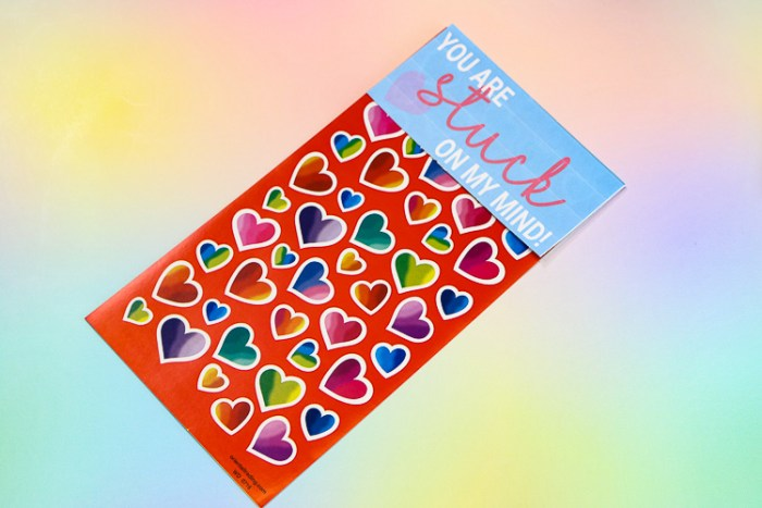 STicker Sheet with printable topper to make it a non-candy Valentine