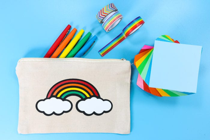 Pencil Pouch with Layered Rainbow Design