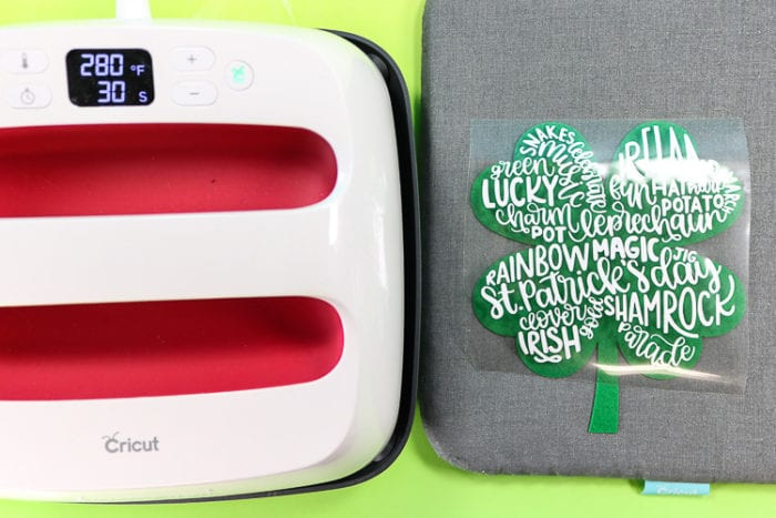 Cricut EasyPress 2 with Mat and Felt Clover with Design