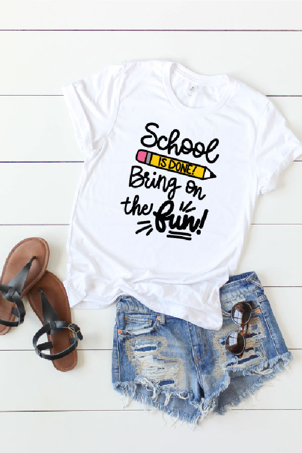 T-shirt with end of school year svg design in htv
