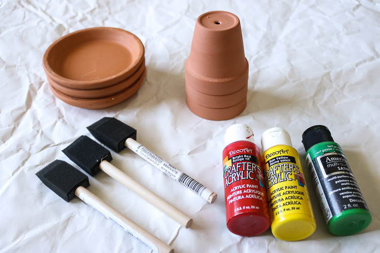 Clay Pots, Drip Dishes and Acrylic paint with foam brushes