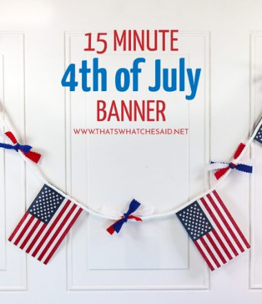 Patriotic Banner for 4th of July. Small American Flags with Red White and Blue Ribbons in between