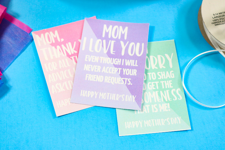 Sarcastic Mother's Day Gift Tags Cut from White Cardstock