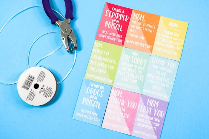 Printed Gift Cards with Sarcastic & Funny sayings for Mother's day.  Laid out with a hole punch and ribbon.