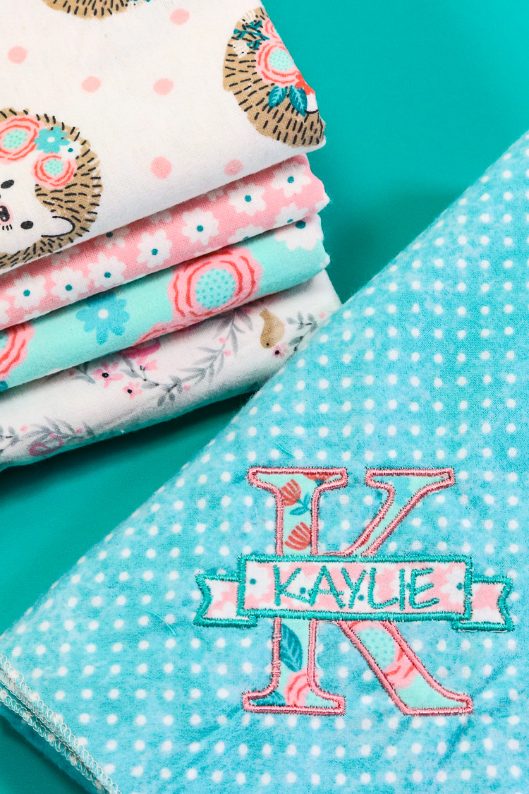 Baby swaddle blankets made from snuggle fabric and a serger