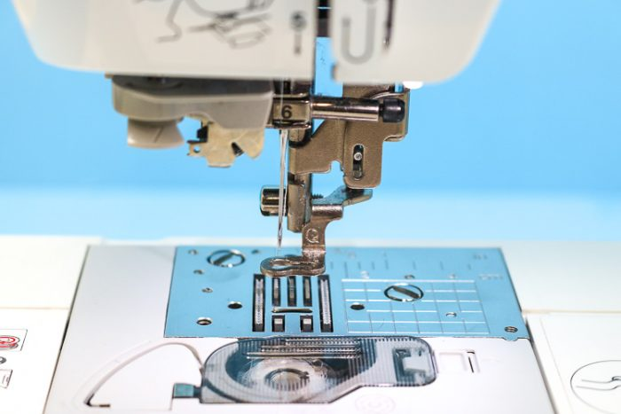 embroidery foot attached to machine