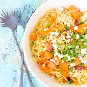 Bowl of Pasta with Butternut Squash, Bacon and Blue Cheese