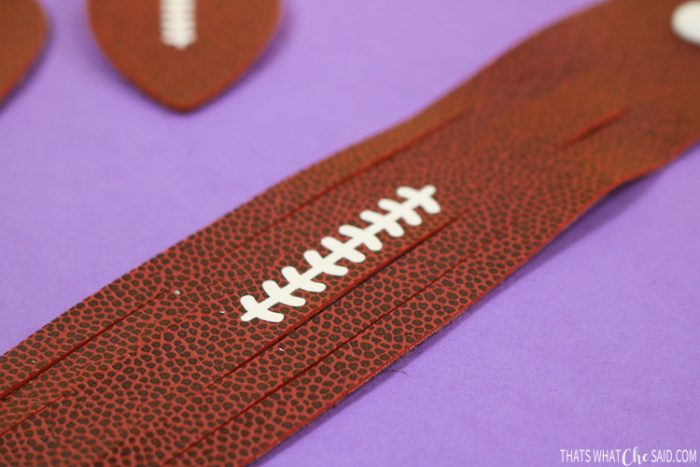 Wrap Bracelet made with faux football leather and iron on laces