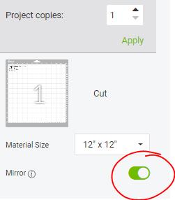 Cricut Design Space screenshot of where to MIRROR your iron on vinyl