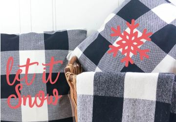 Let It Snow and Snowflake Custom Holiday Pillows