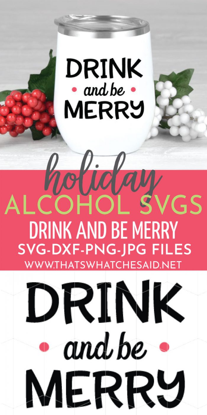 Drink and be Merry Holiday Beverage Cup Decal