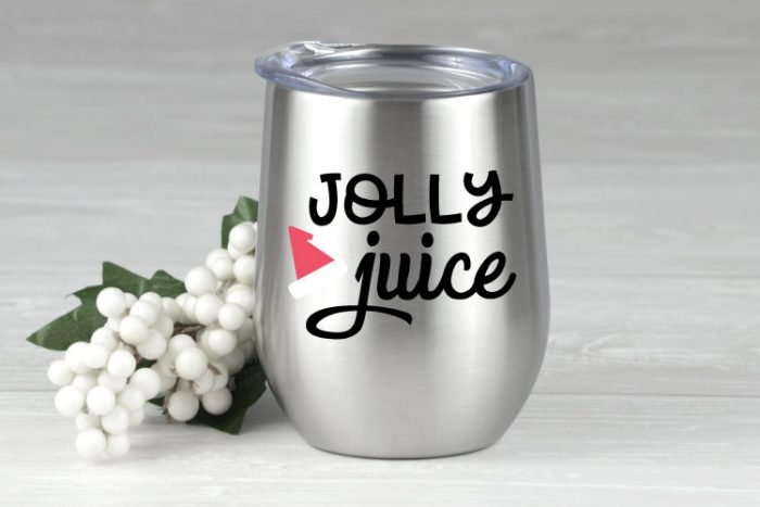 """Silver Wine Tumbler with """"Jolly Juice"""" Holiday SVG applied in adhesive vinyl"""
