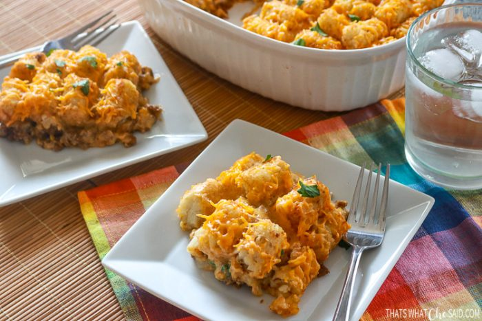 2 served plates of cheeseburger Tater Tot Casserole