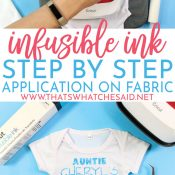 Pressing a baby bodysuit and the finished baby body suit in a pinnable image for Pinterest