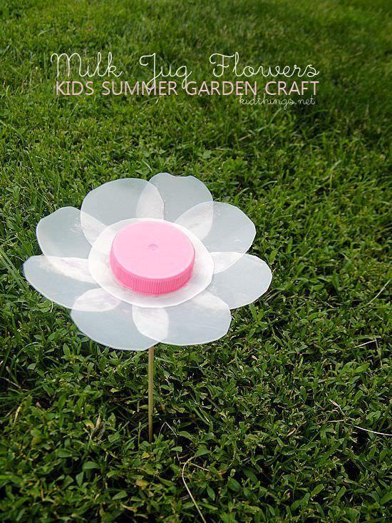 Flower made from a milk carton