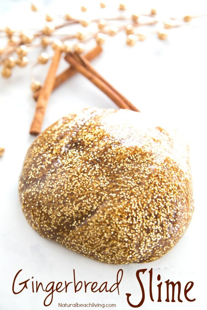 Gingerbread scented gold sparkly slime.