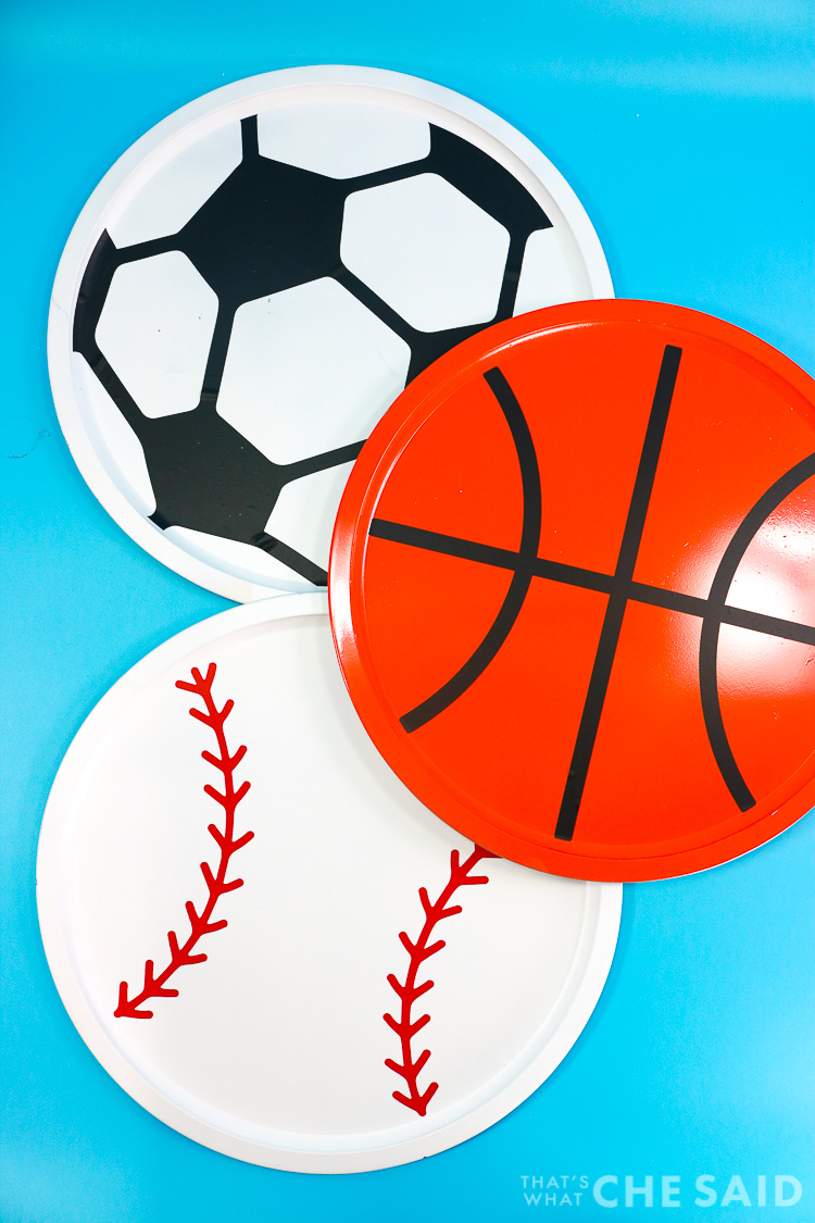 Pizza Pans turned into Sports Balls Magnet boards - vertical